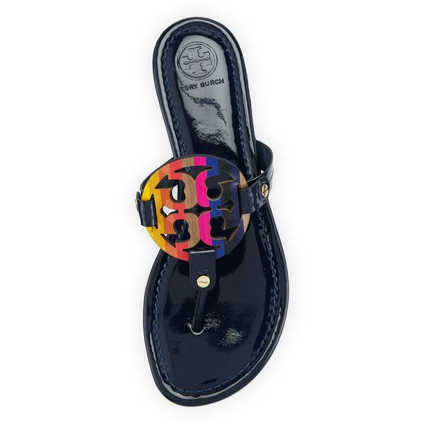 89956a0bdeec Tory Burch Miller Rainbow Logo Sandal ( 200) ❤ liked on Polyvore featuring  shoes