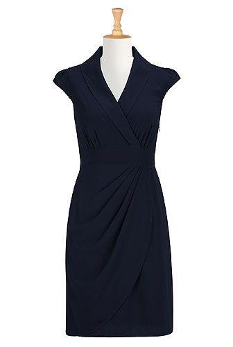2c9552499be eShakti. Draped faux-wrap crepe dress