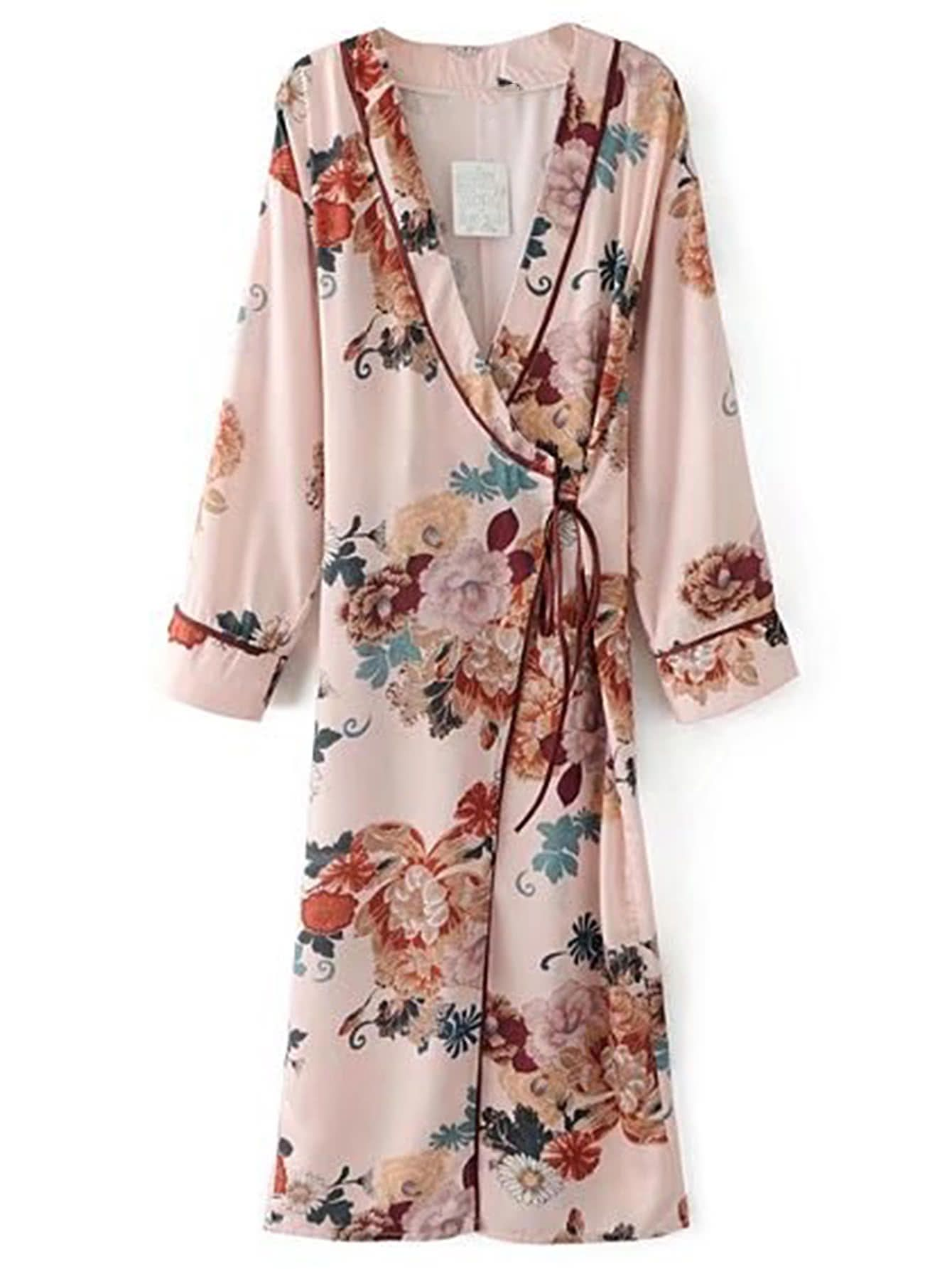 1ee1ea5fe5f4a Floral Print Tie Waist Warp Dress | Dress up stlyes | Long kimono ...