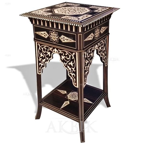 Handcarved And Inlaid Syrian Table With Mother Of Pearl Ideal For