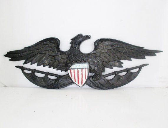 Eagle Wall Hanging Antique Cast Metal Eagle Plaque Federal Etsy Eagle Wall Art Metal Casting Wall Hanging