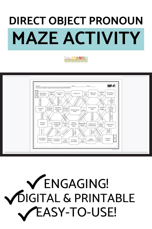 Direct Object Pronoun Spanish Maze Practice Activity With Digital Version Srta Spanish In 2021 High School Spanish Spanish Lesson Plans Middle School Spanish