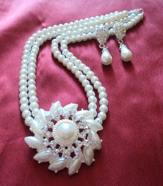 Anaaya #pearls #necklace set with #earrings #jewellery shop online with #craftshopsindia