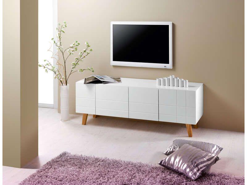 Meuble TV LONDON coloris blanc - pas cher ? C\u0027est sur Conforamafr - Conforama Meuble De Cuisine