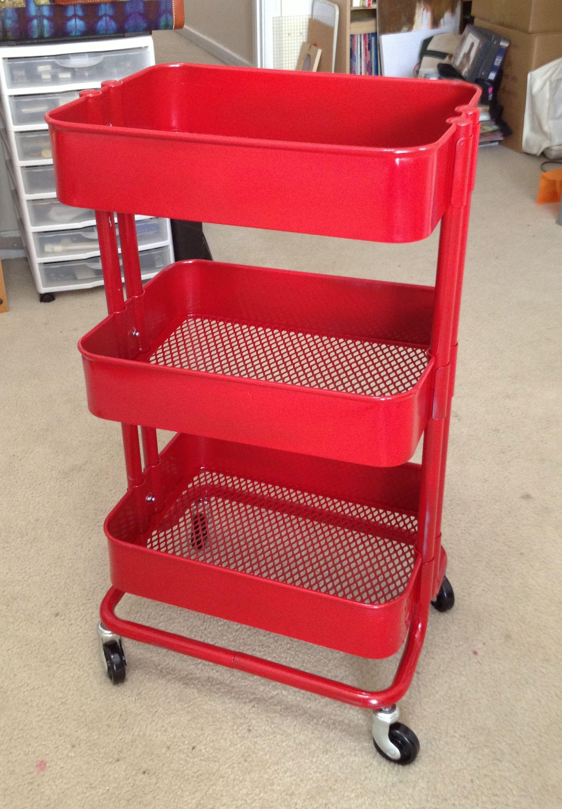 Red Spray Painted Raskog Kitchen Cart Bar Cart Diy