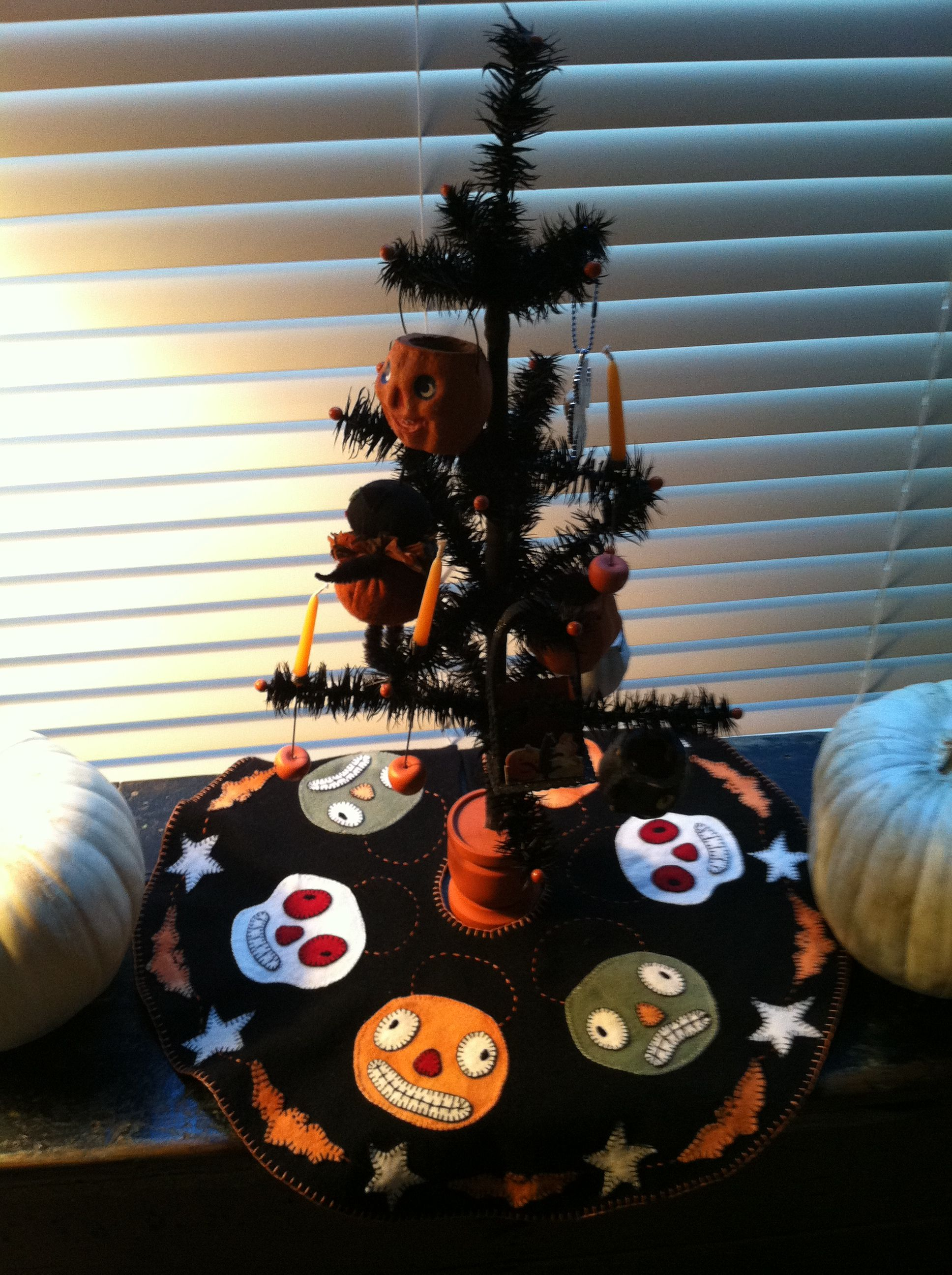 Halloween tree skirt for black feather tree. Cute