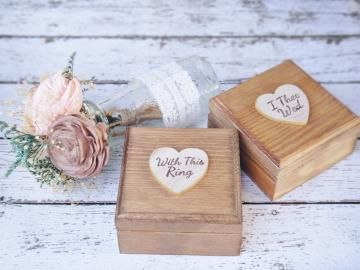Set of 2 Rustic With this Ring Stained Ring Bearer Boxes  by PNZ Designs by PNZdesigns
