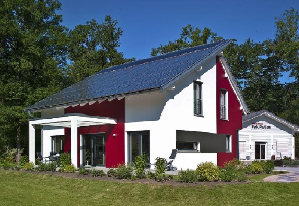 Einfamilienhaus modern mit pultdach und pergola anbau for Haus bauen modern pultdach
