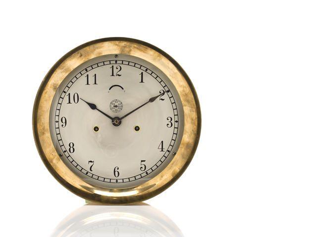A Seth Thomas ship clock case 12inch;  early 20th century sihp's strike bulkhead clock