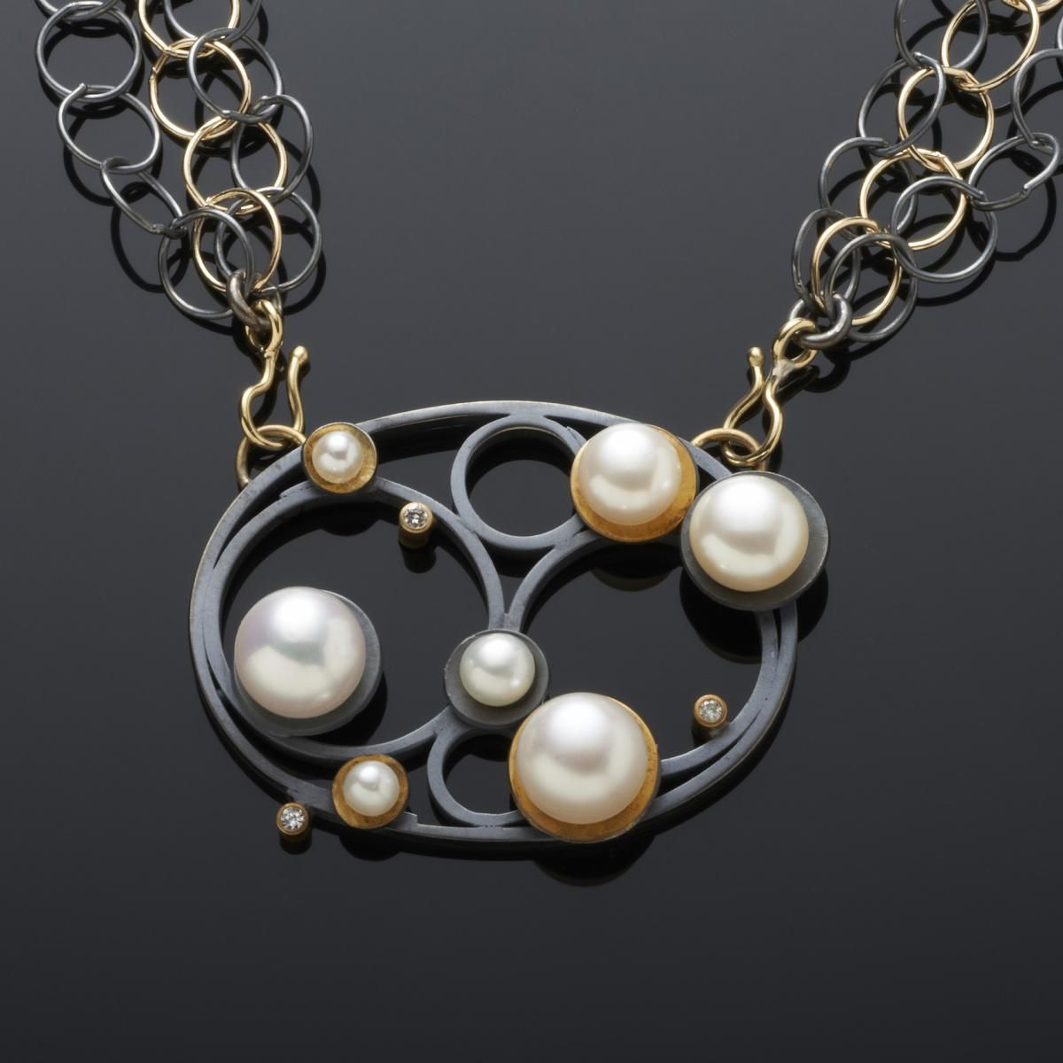 "Necklace | Margaret Dittrich.  ""Pearl Circle""."