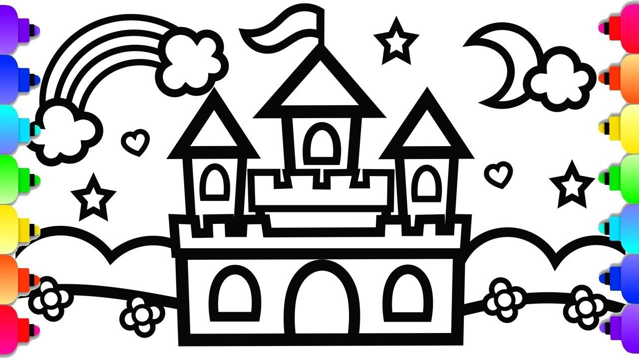 Glitter Castle Drawing And Coloring For Kids Princess Castle Coloring Castle Coloring Page Drawing For Kids Castle Drawing