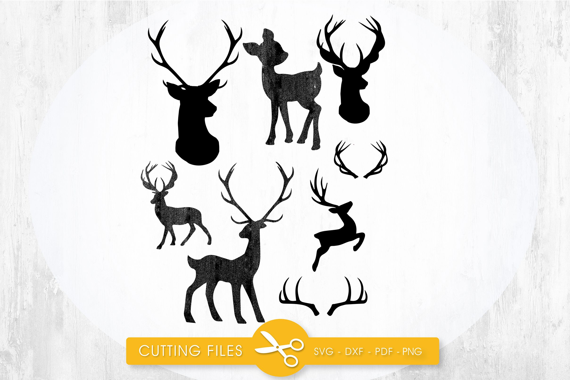 Deer Silhouettes (Graphic) by PrettyCuttables · Creative