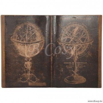 J-Line Kader boek met globe wereldbol bruin hout 115