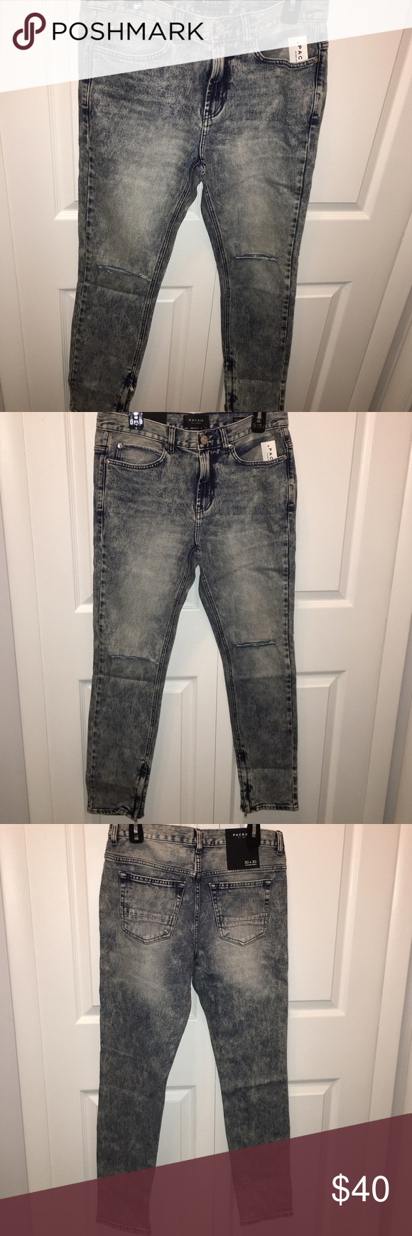"Stacked skinny distressed zip bottom jeans PacSun PacSun - stacked skinny - 30x30 (2 available). Zippers at bottom and slits on knee (see photos). Medium denim acid wash color. ""Brite indigo"" color on tag. Original price includes tax. Any questions - feel free to leave a comment below. PacSun Jeans Skinny"
