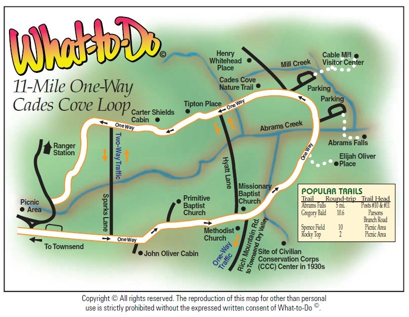 Cades Cove 11 Mile Loop Map Or Http