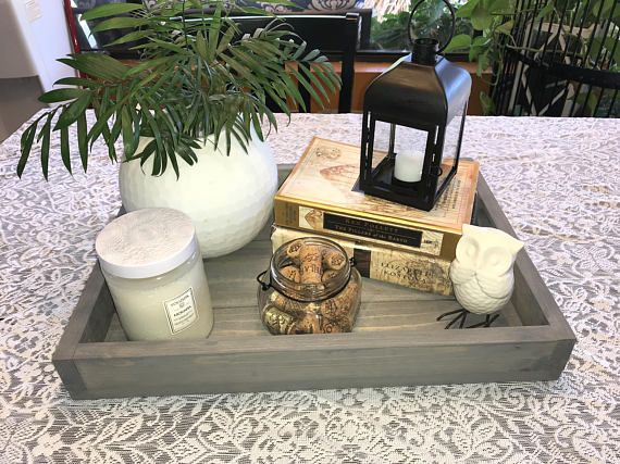 Awe Inspiring Wood Serving Tray Farmhouse Tray Rustic Wood Tray Ottoman Dailytribune Chair Design For Home Dailytribuneorg