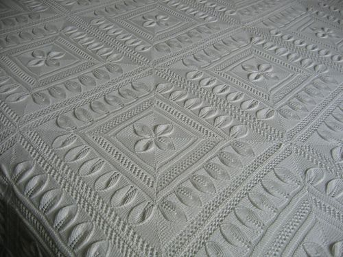 Bedspread Counterpane With Leaves Pattern By Am Crocheted