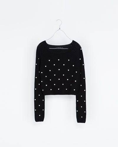 sweater with embroidered hearts knitwear woman new