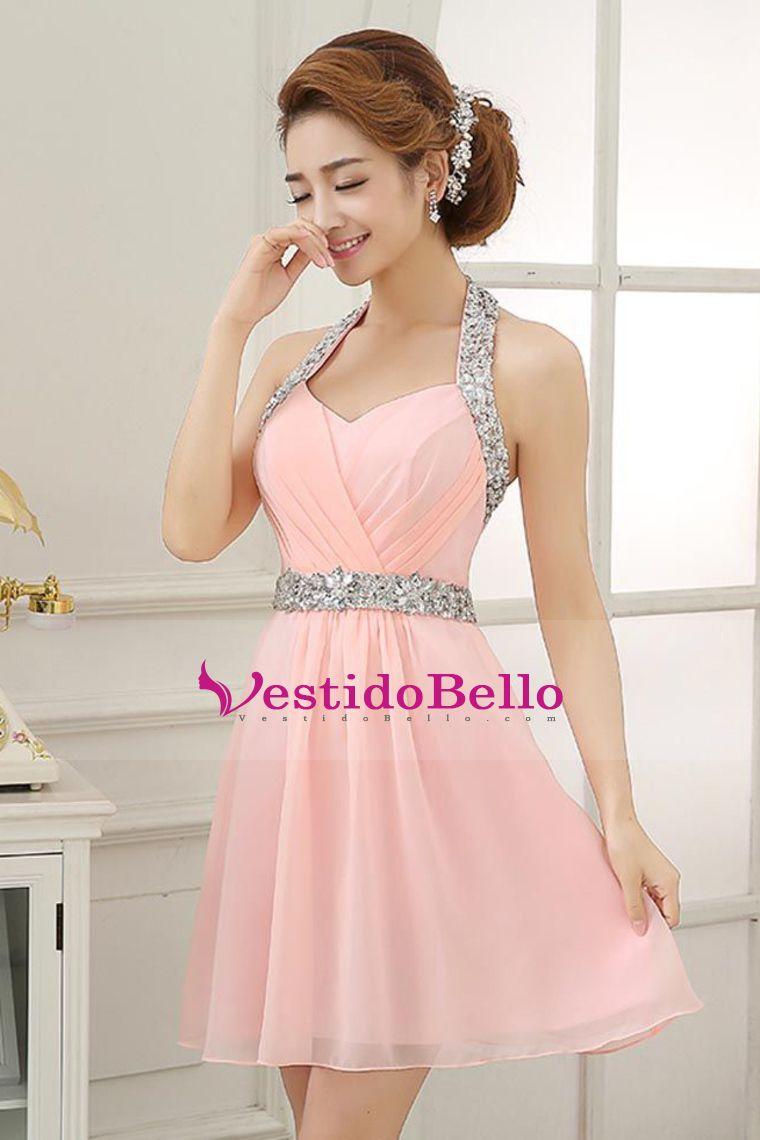 2015 Fiesta Vestidos halter una línea corta / mini de g… | Vestidos ...