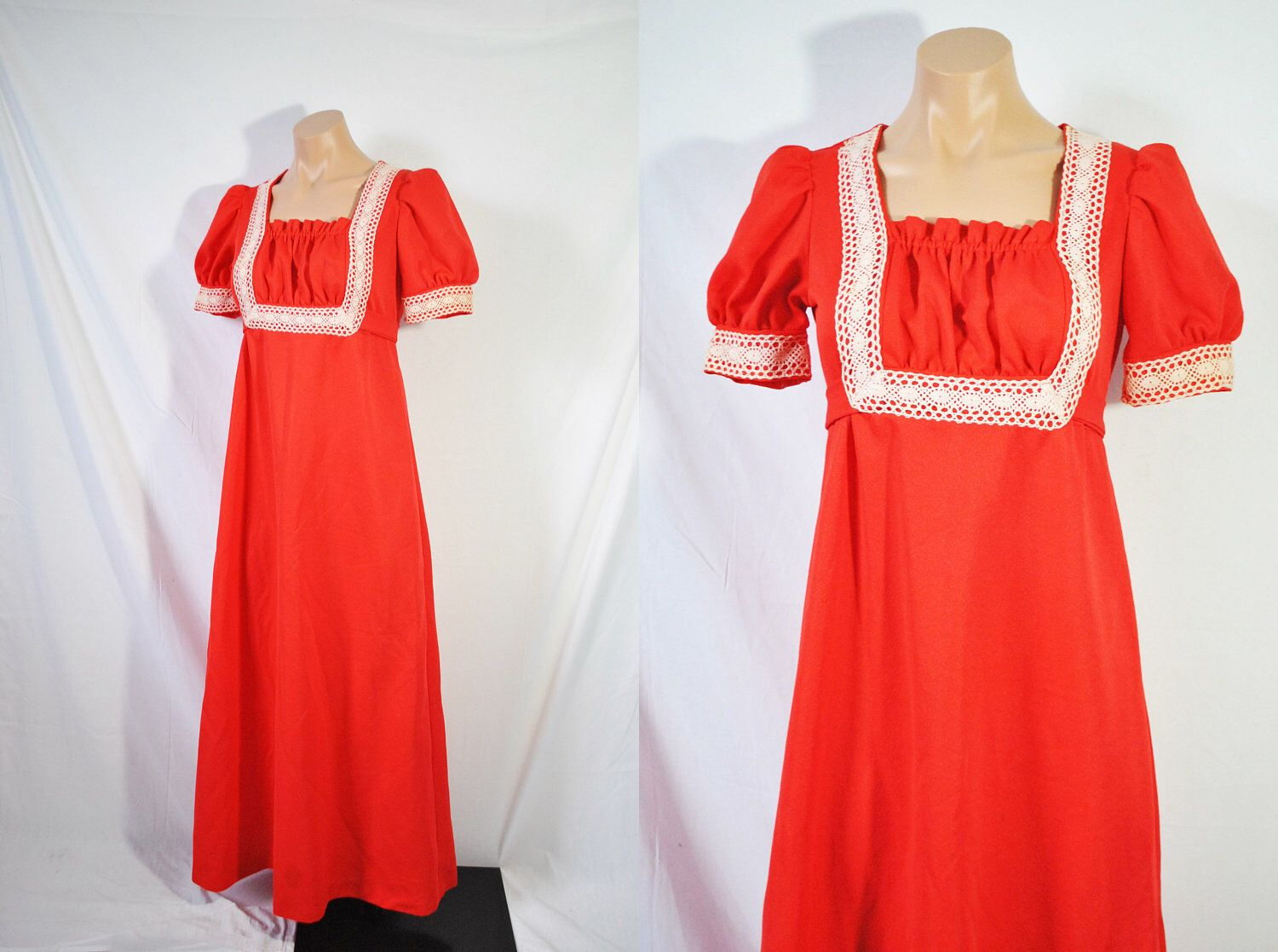 Vintage s red casual prom dress bohemian formal dress hippie