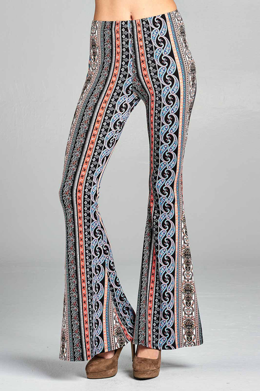 7a5b4722c2f4a Soft Paisley Print Skinny Bell Bottom Pants Elastic waistband Everybody  loves a comfy pair of skinny pants, so cute, and go with almost anything.