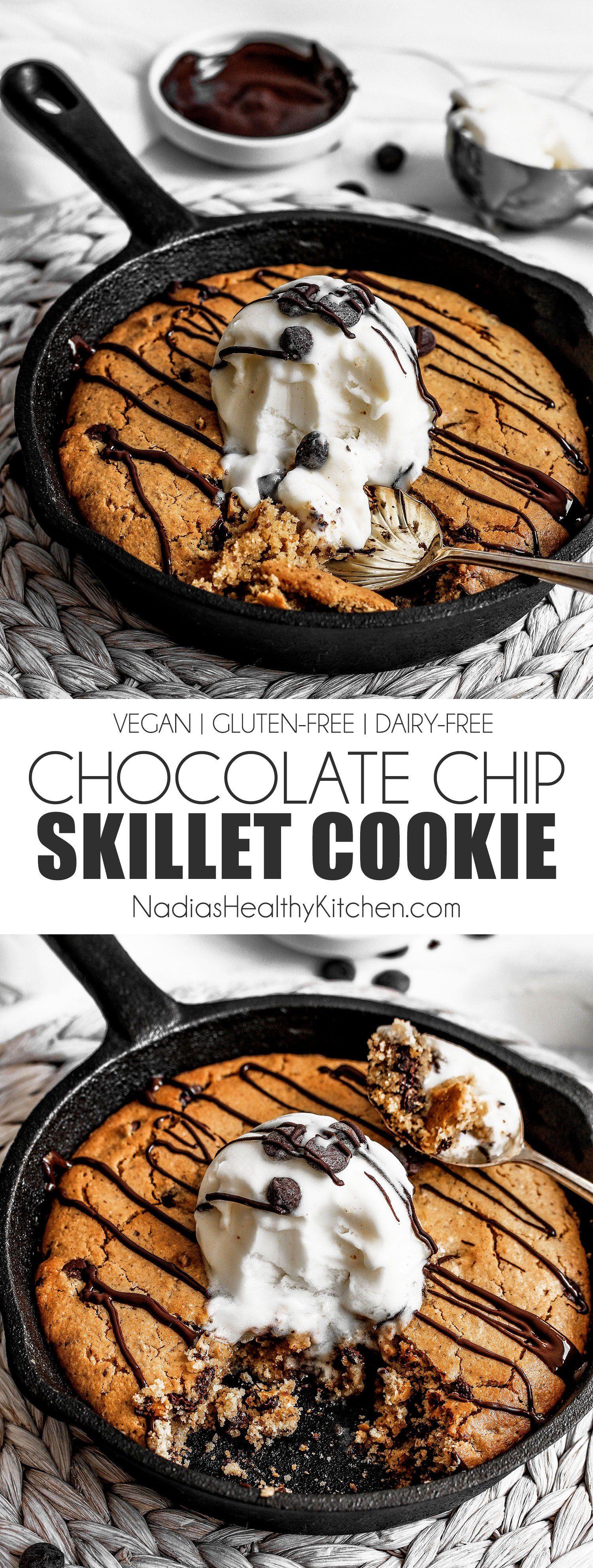 Vegan Gluten Free Skillet Chocolate Chip Cookie Df Sf