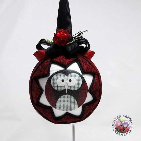 Hoot Owl Quilted Christmas Ornament garnished with a red raspberry and ribbons.  Handmade by Quilted Keepsake Ornaments - $18.00