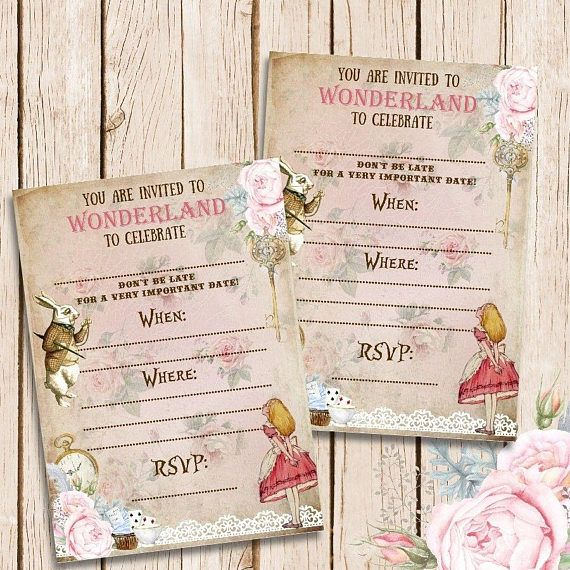 Alice In Wonderland BLANK Invitations Tea Party
