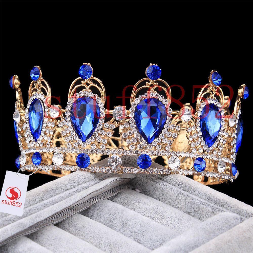 Crowns full circle round tiaras rhinestones crystal wedding bridal - Wedding Bridal Prom Teardrop Sapphire Rhinestone Circle Crown Crystal Hair Tiara Crown
