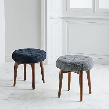 Mid Century Stool Mid Century Stools Upholstered Stool Small Round Ottoman