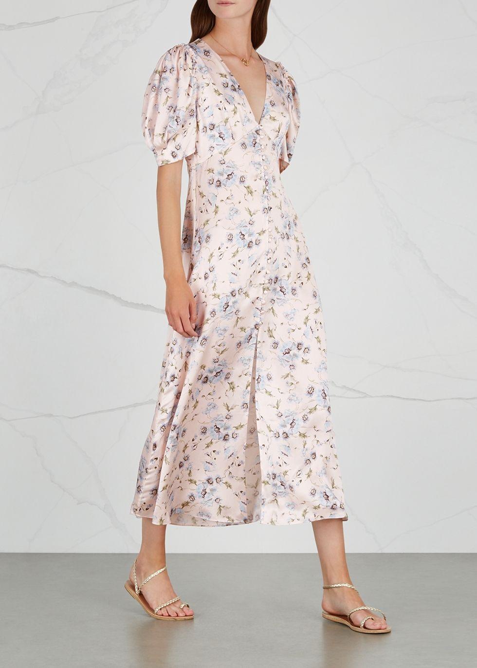 Loveshackfancy Delaney Printed Silk Midi Dress Harvey Nichols Dresses Silk Midi Dress Summer Dresses [ 1372 x 980 Pixel ]