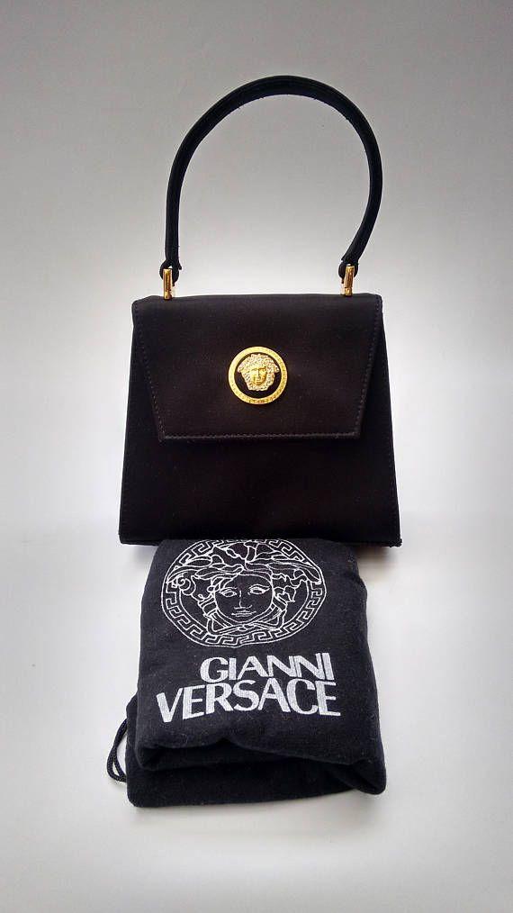 55223284 VERSACE Gianni Versace Vintage Black Handheld Bag. Italian | GIANNI ...