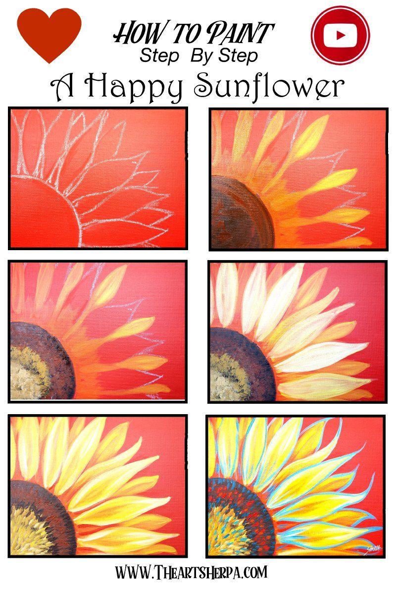 Easy Sunflower Acrylic Painting Tutorial Step By Live Streaming The Art Sherpa Canvas Tutorials