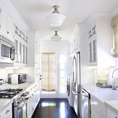 White Galley Kitchen, Schoolhouse lights | Galley kitchen ...