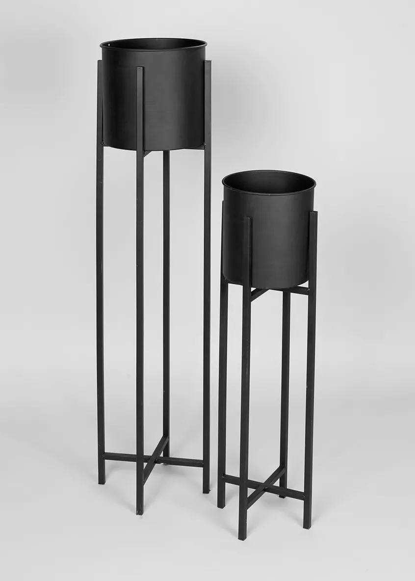 Set Of 2 Tall Metal Planters Black In