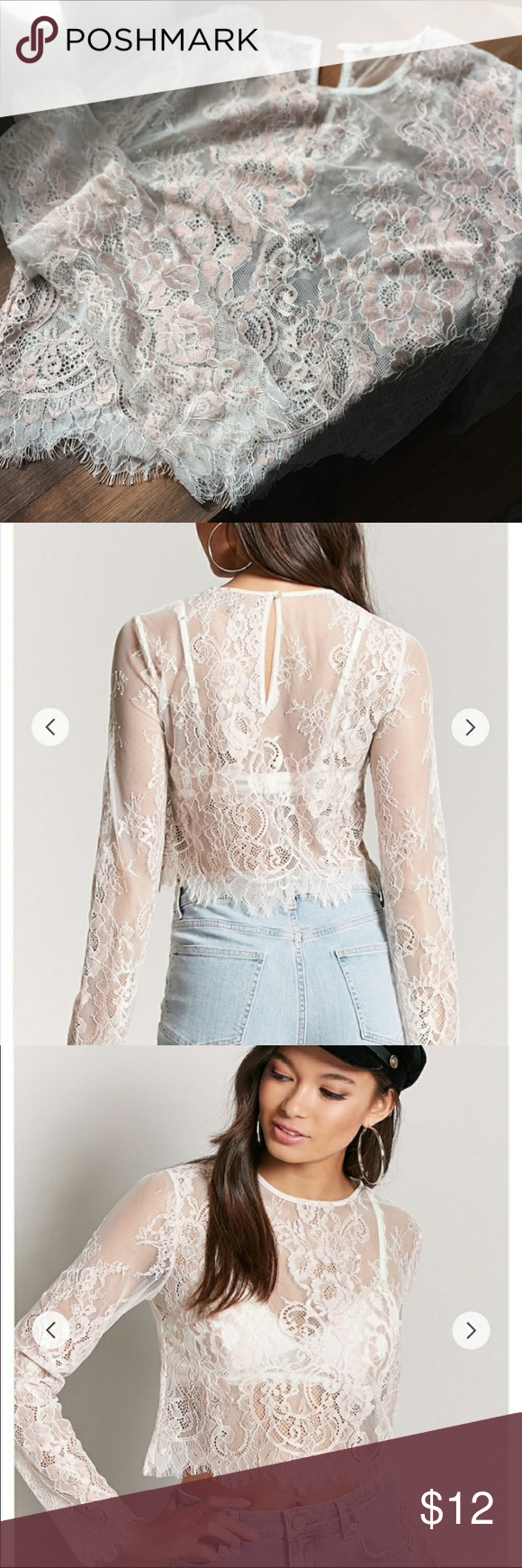 683bc0b3ba9e0c Forever 21 sheer lace blouse crop top Blush pink nude sheer lace top, long  sleeves. Visit. April 2019