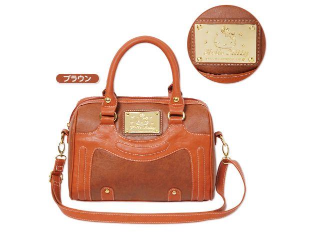 4b06dfb9c9bf Hello Kitty 2 Way Handbag Shoulder Mini Overnight Boston Bag Brown SANRIO  for Sale - 01