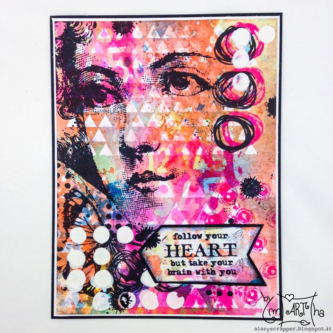 Card with carabelle stamps & stencil using distress ink