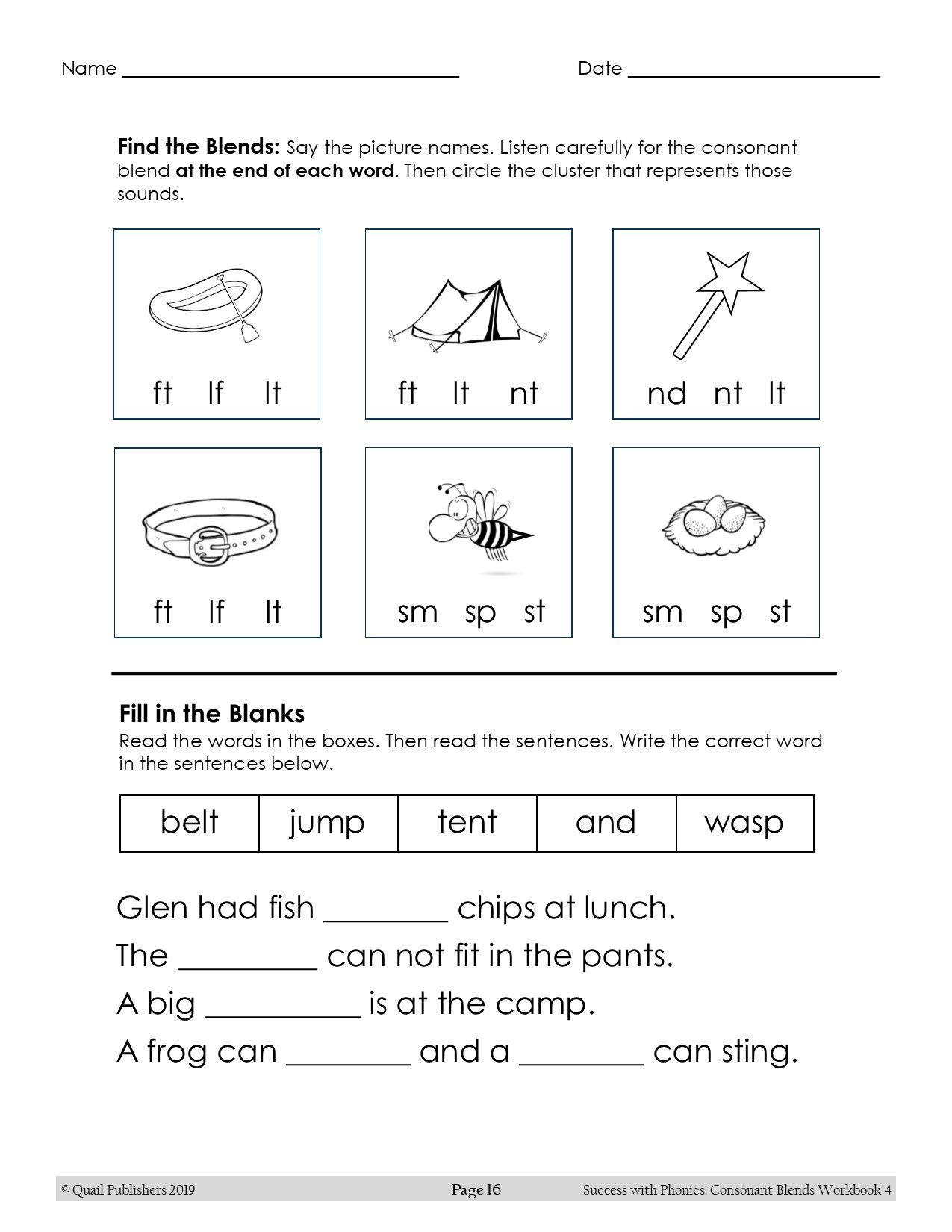 Success With Phonics Ending Blends