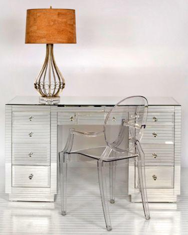 Phillip Mirrored 9 Drawer Glass Desk Clayton Gray Home Desk Mirror Mirrored Furniture Furniture