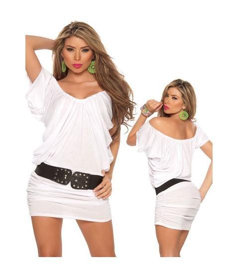 Sexy White Cap Sleeve Mini Dress.