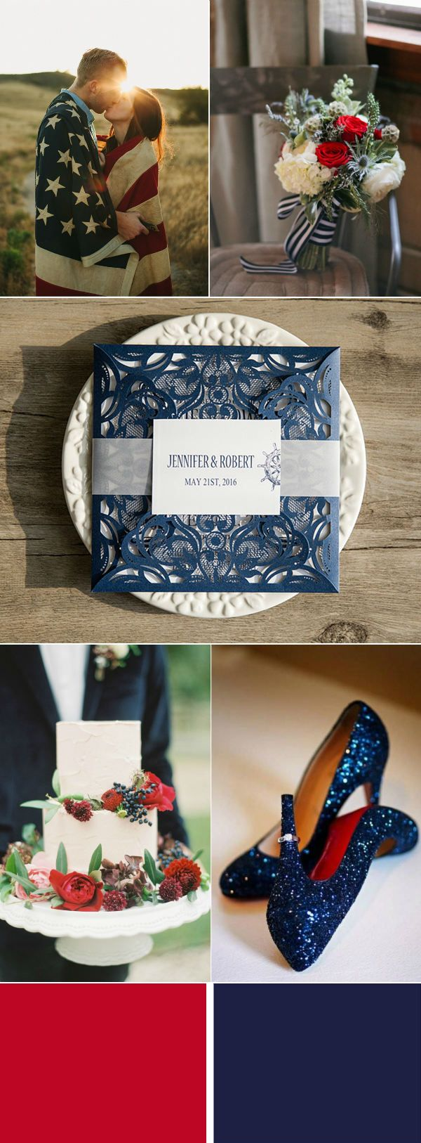 Wedding decoration ideas red and white  Fourth Of July Inspired Wedding Ideas With Red White And Navy