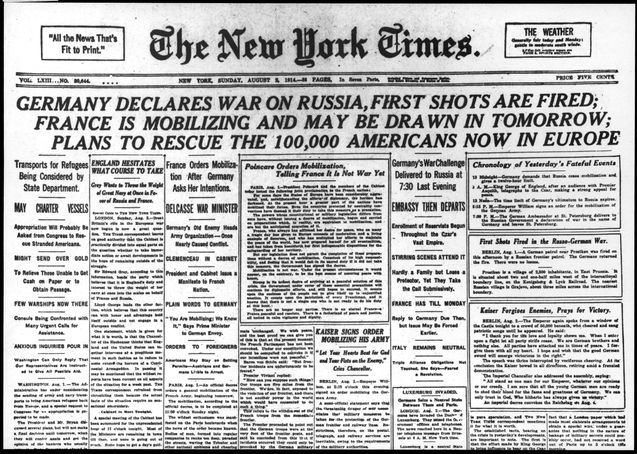 02.08.1914, A Newspaper Headline Announcing The Beginning Of World