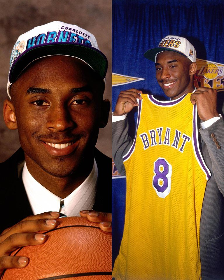 Kobe Bryant was drafted 13th overall by Charlotte Hornets in 1996 before LA Lakers  acquired his draft rights.  MambaMoments b487bbf66