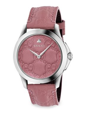 58a9f68210c GUCCI G-Timeless Leather Strap Watch.  gucci