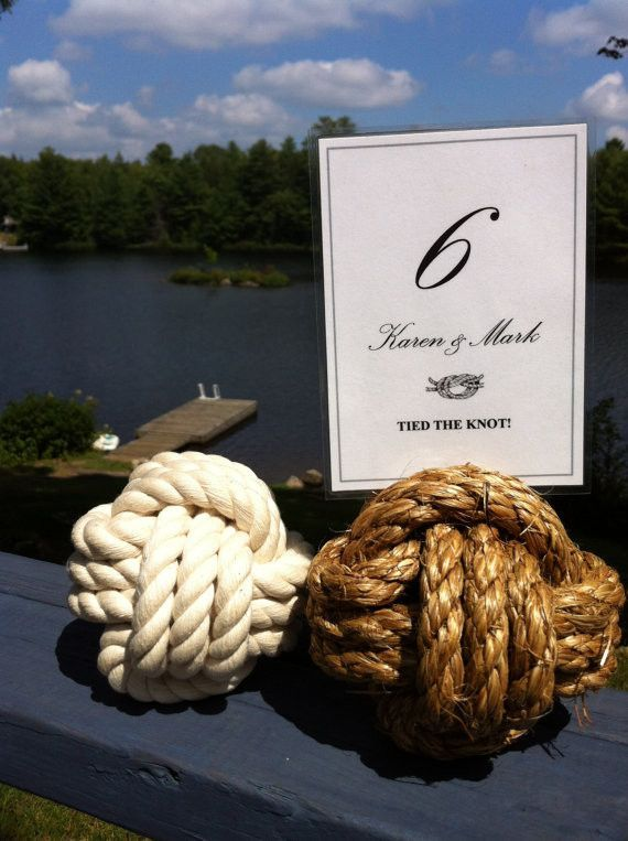 Small Nautical Rope Table Number Holders in Brown Manila