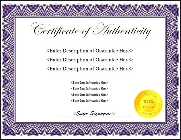 Free Printable Authenticity Certificate Template Sample Templates