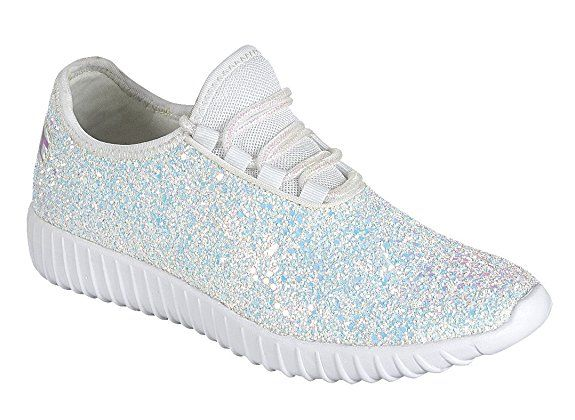 lowest price b0873 b881e Amazon.com  JKNY Kids Girls Fashion Metallic Sequins Glitter Lace up Light  Weight Stylish Sneaker Shoes  Sneakers