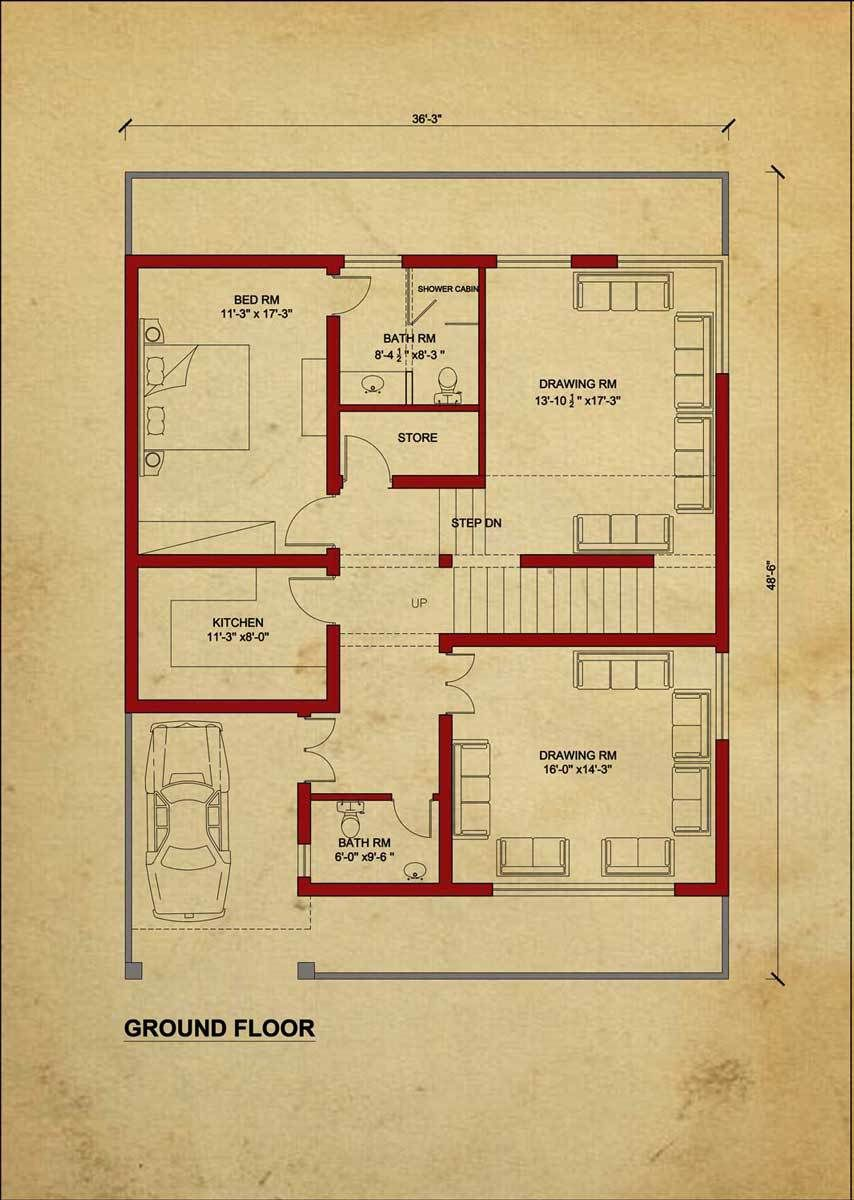 House Floor Plan By 360 Design Estate 7 5 Marla House House Flooring House Floor Plans House Layout Plans