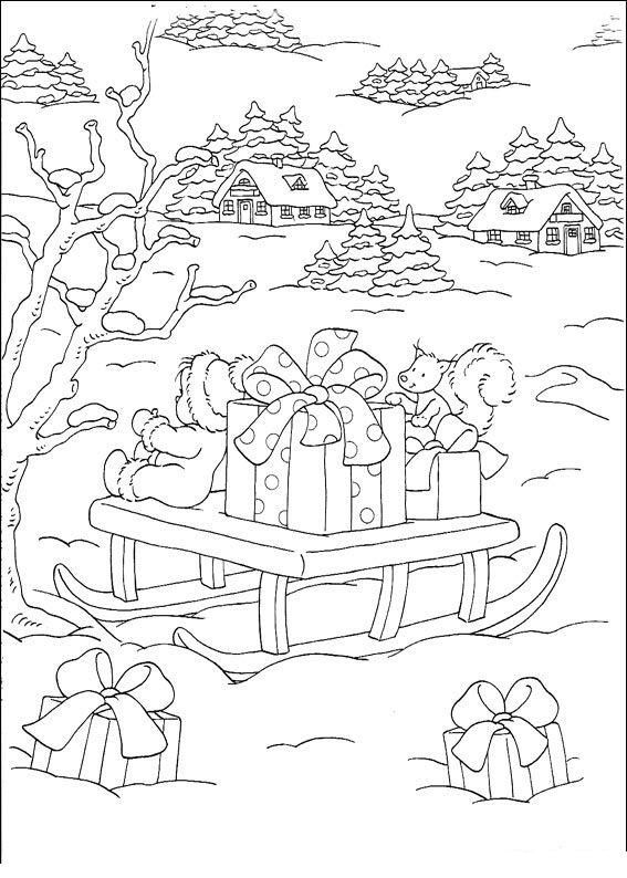 Snowy Winter Christmas Scene Coloring Page Desenhos Pinterest